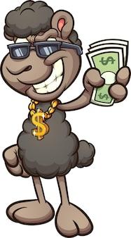 Czarna owca nosząca złoty wisiorek ze znakiem dolara kreskówka i trzymająca papierowe rachunki
