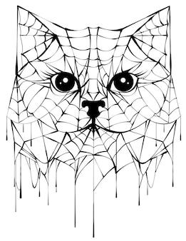 Czarna pajęczyna sylwetka głowa kota. akcesorium na halloween. na białym tle na ilustracji wektorowych biały