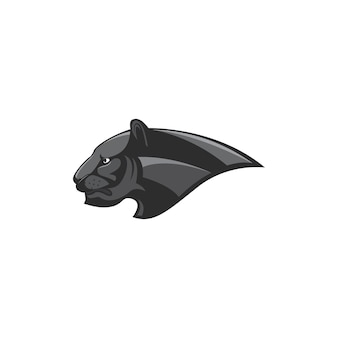 Czarna pantera głowa logo wektor