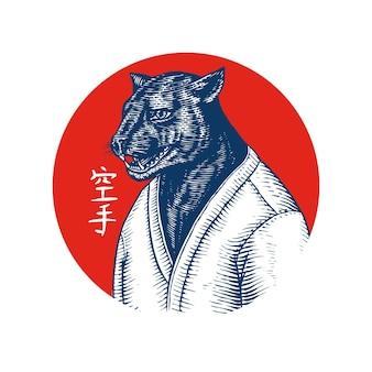Czarna pantera i czerwone słońce. japoński tekst oznacza karate.
