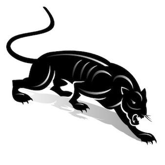 Czarna pantera z prostych linii na białym tle