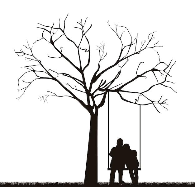 Czarna para pod drzewem na ilustracji wektorowych huśtawka