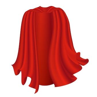 Czarna peleryna na białym tle halloween satynowy wampir czerwony płaszcz ilustracja