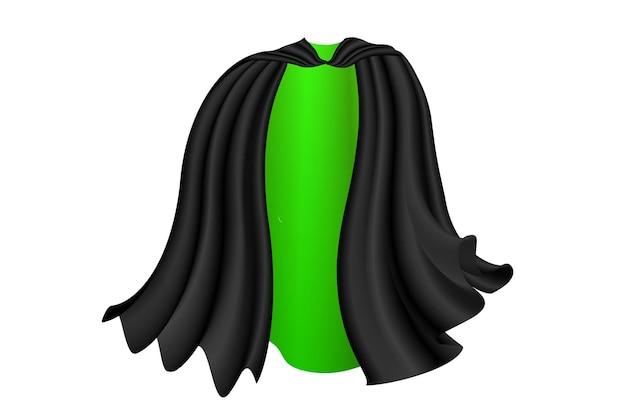 Czarna peleryna na białym tle halloween satynowy wampir toksyczny płaszcz ilustracja