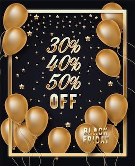 Czarna piątek złota ramka z balonami helowymi i gwiazdkami
