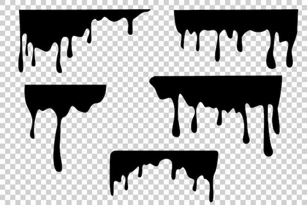 Czarna plama kapiąca olej, sos lub farba przepływające sylwetki wektorowe na białym tle. rozprysk cieczy, granica rozbryzgu, ilustracja wycieku