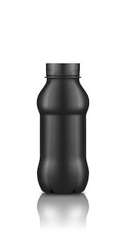 Czarna plastikowa butelka jogurtu z makieta nakrętka na białym tle