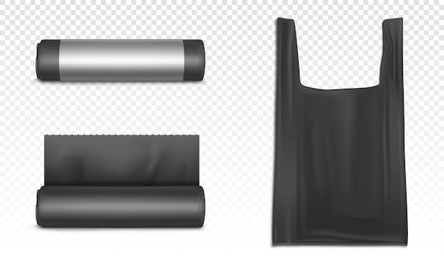 Czarna plastikowa torba na śmieci, śmieci i śmieci. realistyczne worki polietylenowe na śmieci w rolce i torbie z uchwytami do przewoźnika na przezroczystym tle