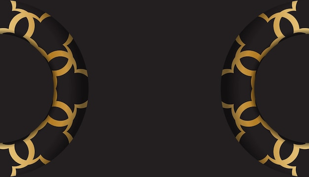 Czarna pocztówka ze złotym abstrakcyjnym ornamentem