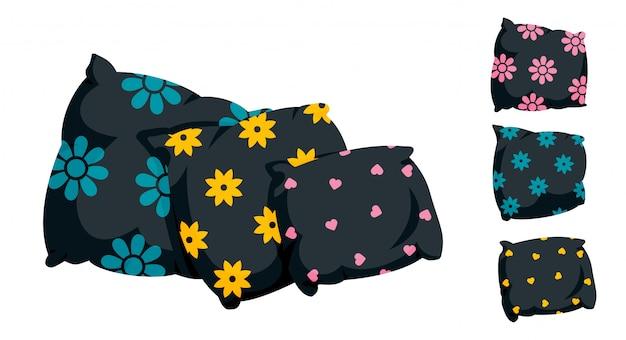 Czarna poduszka z ozdobnym wzorem, płaski styl kreskówek. tekstylia wewnętrzne. ciemna poduszka na sofę, trzy z rzędu, do łóżka, spania