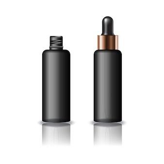 Czarna, przezroczysta, okrągła butelka kosmetyczna z pokrywką z zakraplaczem.