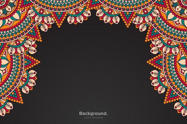 Czarna ramka z abstrakcyjną orientalną mandalą