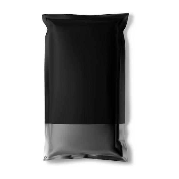 Czarna saszetka torba foliowa makieta wektor pusty pakiet przekąsek saszetka na poduszkę makieta aluminiowa