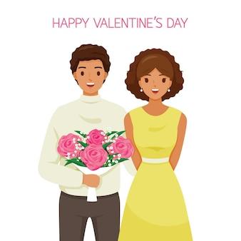 Czarna skóra mężczyzna trzyma bukiet kwiatów i przytulanie swoją dziewczynę, kochanka, walentynki