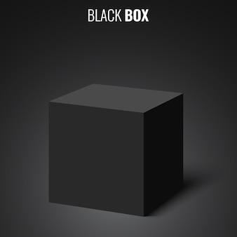 Czarna skrzynka. sześcian. ilustracja.