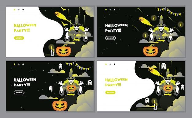Czarna strona z zaproszeniami na przyjęcie halloween