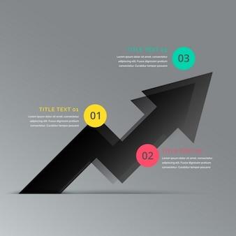 Czarna strzałka infografika biznesu szablon przedstawiający trzy kroki
