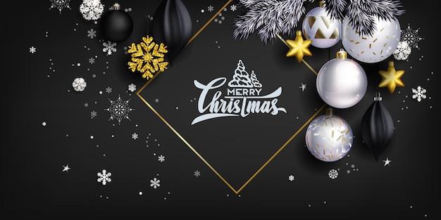 Czarna stylowa świąteczna kompozycja z kulkami