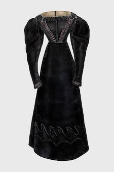Czarna sukienka vintage ilustracji wektorowych, zremiksowane z grafiki autorstwa bessie forman.