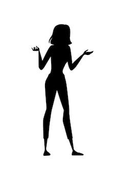 Czarna sylwetka kobiety piękna brunetka womans z wątpliwości wyrażenie kreskówka projekt płaski wektor ilustracja na białym tle.