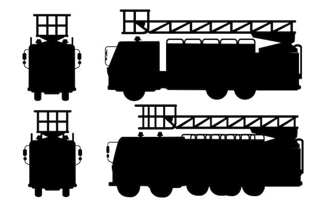 Czarna sylwetka kreskówka projekt samochodów strażackich zestaw ilustracji wektorowych płaski
