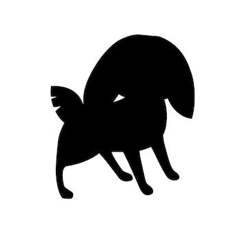 Czarna sylwetka ładny szary królik stoją na ziemi kreskówka projekt płaski wektor ilustracja na białym tle.