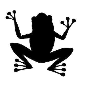 Czarna sylwetka ładny uśmiechający się żaba siedzi na ziemi kreskówka projekt płaski wektor ilustracja na białym tle.