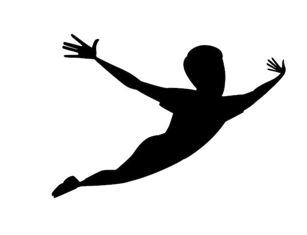 Czarna sylwetka latający mężczyzna postać z kreskówki projekt płaski wektor ilustracja na białym tle.