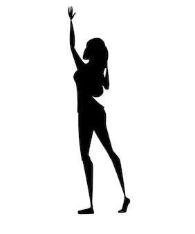Czarna sylwetka młoda kobieta szczęśliwa z podniesioną ręką postać z kreskówki projekt płaski wektor ilustracja na białym tle.