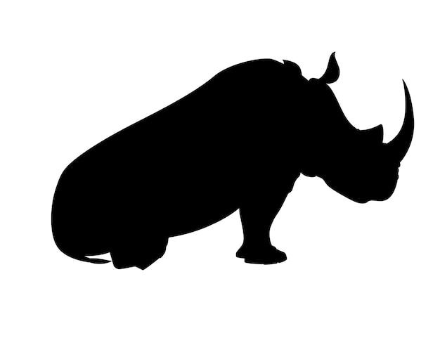 Czarna Sylwetka Nosorożec Afrykański Siedzi Na Ziemi Widok Z Boku Kreskówka Projekt Płaski Wektor Ilustracja Na Białym Tle. Premium Wektorów