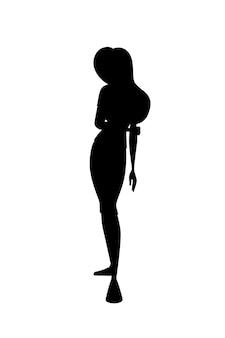 Czarna sylwetka smutna ruda dziewczyna pochyliła się ręka w dół postać z kreskówki projekt płaski wektor ilustracja na białym tle.