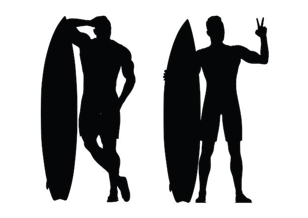 Czarna Sylwetka Surfera Na Białym Tle. Ilustracja Wektorowa Premium Wektorów