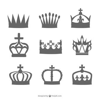 Czarna sylwetka zestaw korona