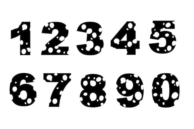 Czarna sylwetka zestaw liczb styl kreskówka jedzenie projekt płaski wektor ilustracja na białym tle.