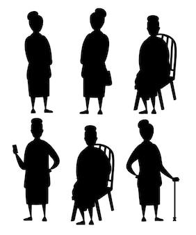 Czarna sylwetka. zestaw starszy kobieta w ubranie. stare kobiety w różnych sytuacjach. babcia na stojąco. projekt postaci z kreskówek. płaskie ilustracja na białym tle.