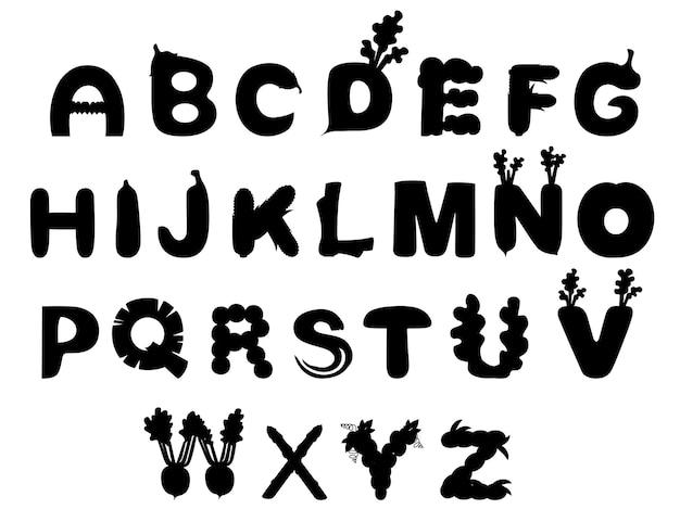 Czarna sylwetka zestaw warzyw i owoców alfabet jedzenie styl kreskówka warzywo projekt płaski wektor ilustracja na białym tle.