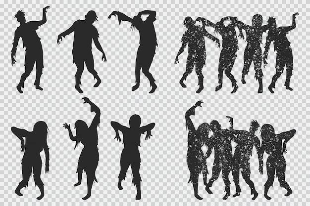 Czarna sylwetka zombie. zestaw ikon halloween na białym tle