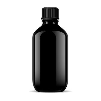 Czarna szklana medyczna butelka odizolowywająca na bielu.