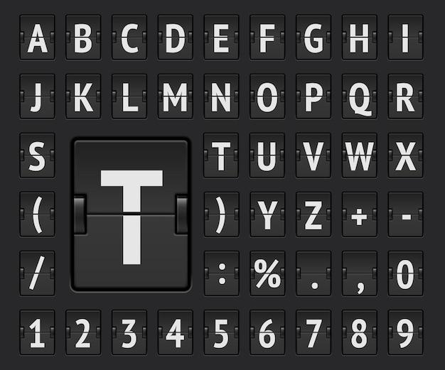 Czarna tablica na lotnisku mechaniczny pogrubiony alfabet z numerami do informacji o miejscu docelowym i pokazujący rozkład jazdy. ilustracja wektorowa.