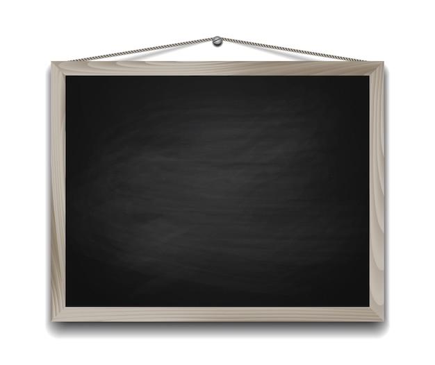 Czarna tablica w drewnianej ramie. powrót do szkoły tła ilustracji