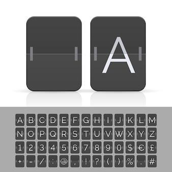 Czarna tablica wyników z klapką alfabet, cyfry i symbole.