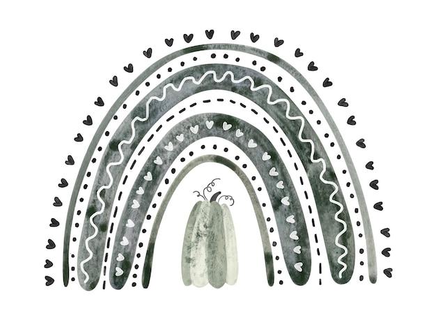 Czarna tęcza halloween z szarą dynią. śliczna akwarela ilustracja dla dzieci halloween.