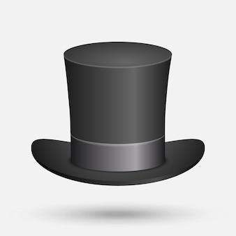 Czarna top hat ilustracji wektorowych na białym tle