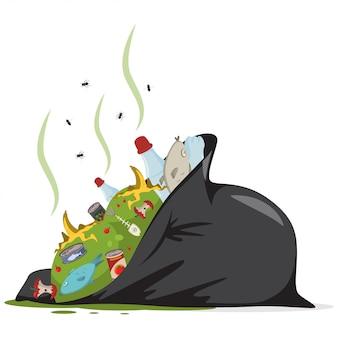 Czarna torba na śmieci z odpadami żywnościowymi