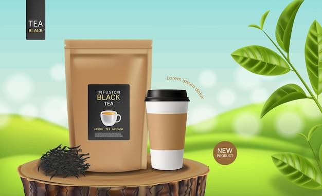 Czarna torebka herbaty wektor realistyczne lokowanie produktu makiety 3d szczegółową ilustrację