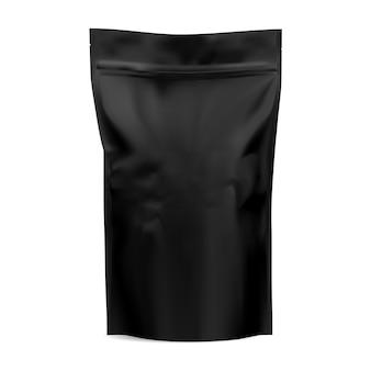 Czarna torebka z kawą. makieta pakietu zip