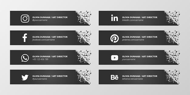 Czarna trzecia kolekcja mediów społecznościowych