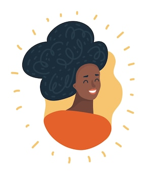 Czarna twarz kobiety afroamerykańskiej dziewczyny avatar