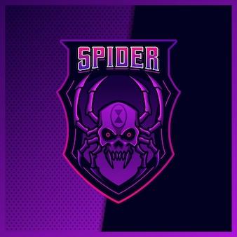 Czarna wdowa pająk czaszka maskotka projekt logo esport ilustracje szablon wektor, logo tarantuli dla gry zespołowej streamer youtuber banner twitch discord, pełny kolor stylu cartoon