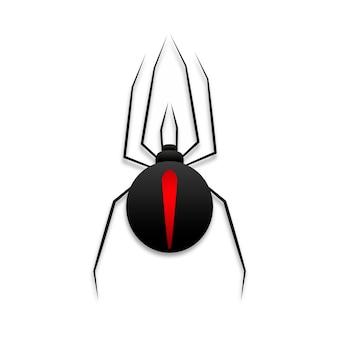 Czarna wdowa pająk z czerwoną oznakowaniem płaskiej wektorowej ikony dla aplikacji i stron internetowych
